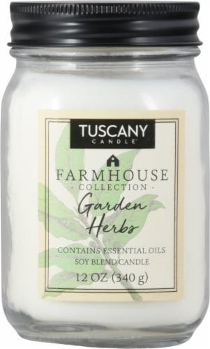 Tuscany Candle Farmhouse Collection Garden Herbs Scented Jar Candle Perspective: front