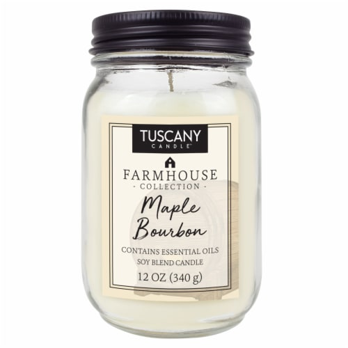 Tuscany Candle Farmhouse Collection Maple Bourbon Scented Jar Candle Perspective: front