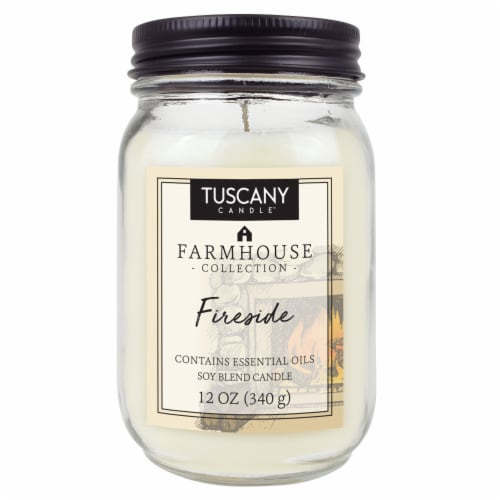 Tuscany Candle Farmhouse Collection Fireside Scented Jar Candle Perspective: front