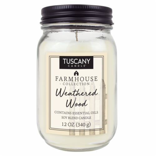 Tuscany Candle Farmhouse Collection Weathered Wood Scented Jar Candle Perspective: front