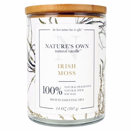Nature's Own Irish Moss Soy Wax Natural Candle Perspective: front
