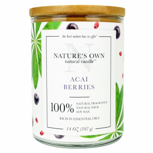 Nature's Own Acai Berries Soy Wax Natural Candle Perspective: front