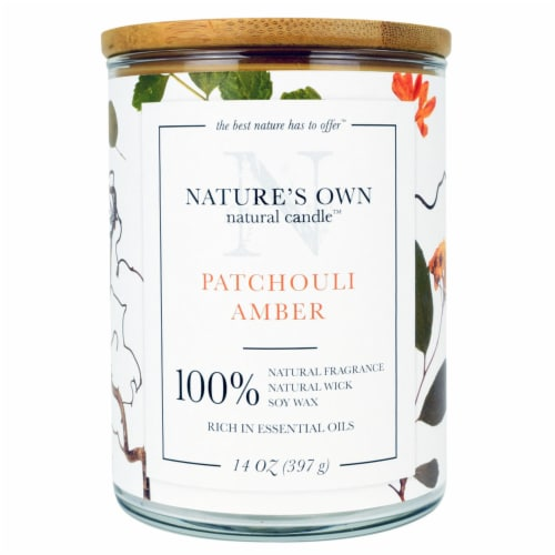 Nature's Own Patchouli Amber Soy Wax Candle Perspective: front