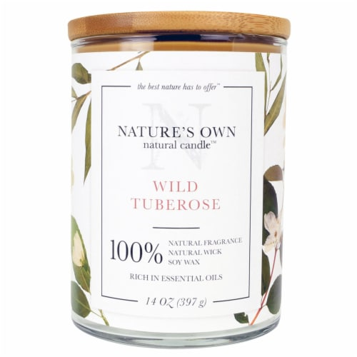 Nature's Own Wild Tuberose Soy Wax Candle Perspective: front