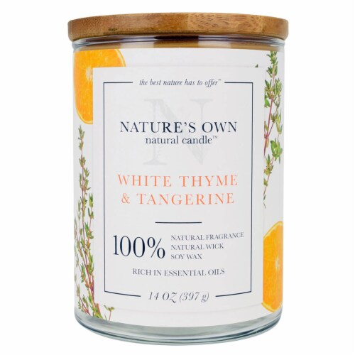 Nature's Own White Thyme & Tangerine Soy Wax Candle Perspective: front