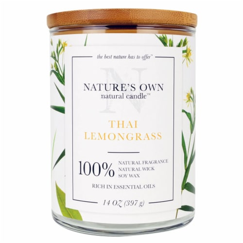 Nature's Own Thai Lemongrass Soy Wax Candle Perspective: front