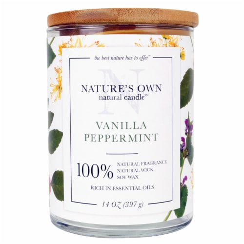 Nature's Own Vanilla Peppermint Soy Wax Natural Candle Perspective: front