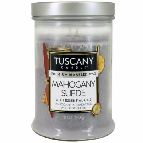 Tuscany Mahogany Suede Scented Jar Candle Perspective: front