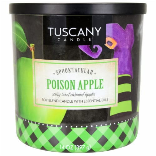 Tuscany Candle Spooktacular Poison Apple Scary Sweet Caramel Apples Scent Candle Perspective: front