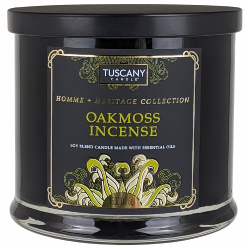 Tuscany Homme & Heritage Collection Oakmoss Incense Soy Blend Jar Candle Perspective: front