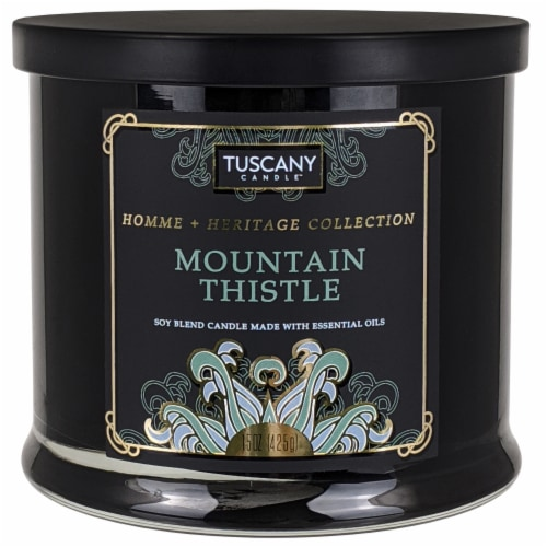 Tuscany Homme & Heritage Collection Mountain Thistle Soy Blend Jar Candle Perspective: front