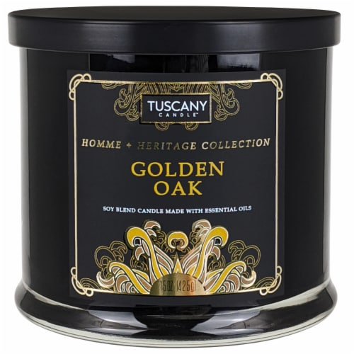 Tuscany Homme & Heritage Collection Golden Oak Soy Blend Jar Candle Perspective: front