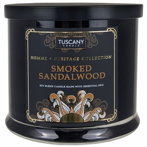 Tuscany Homme & Heritage Collection Smoked Sandalwood Soy Blend Jar Candle Perspective: front