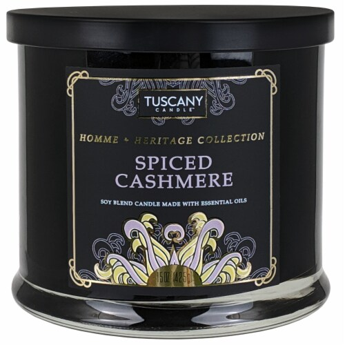 Tuscany Homme & Heritage Collection Spiced Cashmere Soy Blend Jar Candle Perspective: front