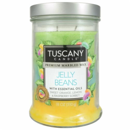 Tuscany Jelly Beans Triple Pour Candle - Yellow/Blue Perspective: front