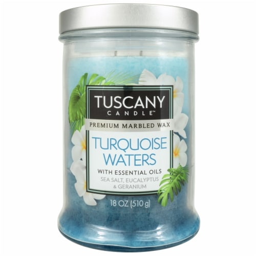 Tuscany Turquoise Waters Triple Pour Candle - Blue Perspective: front