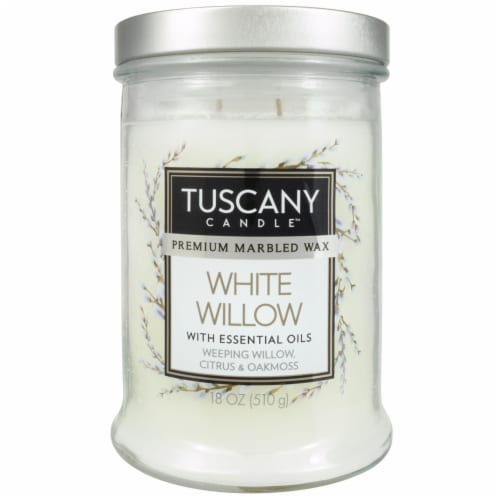 Tuscany White Willow Premium Marbled Wax Candle - White Perspective: front