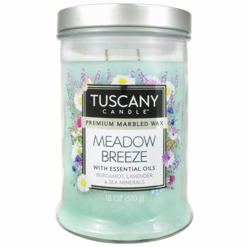 Tuscany Meadow Breeze Premium Marbled Wax Candle - Blue Perspective: front