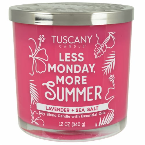 Tuscany Candle Less Monday More Summer Lavender + Sea Salt Soy Blend Candle Perspective: front