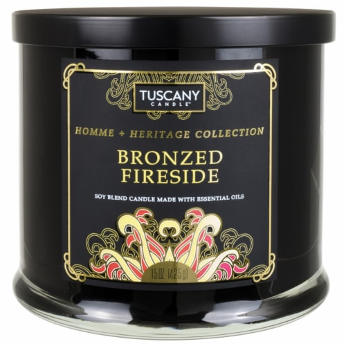 Tuscany Homme & Heritage Collection Bronzed Fireside Soy Blend Jar Candle Perspective: front