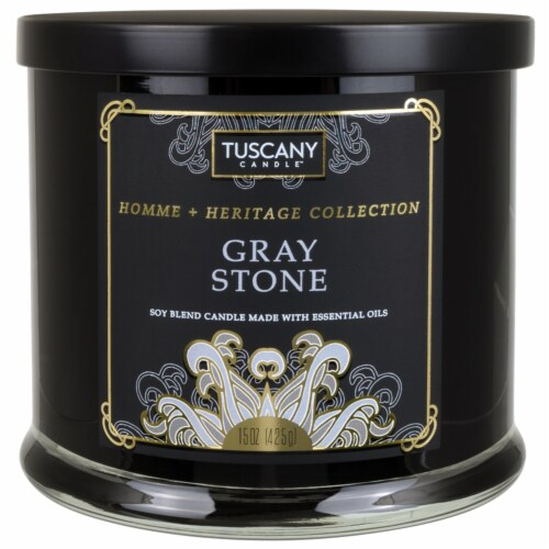 Tuscany Candle Homme & Heritage Collection Gray Stone Scented Jar Candle Perspective: front
