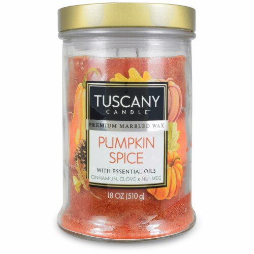 Tuscany Candle Limited Edition Pumpkin Spice Scented Triple Pour Jar Candle Perspective: front