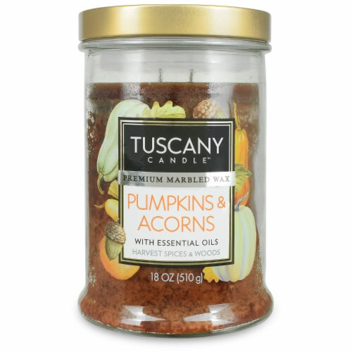 Tuscany Candle Limited Edition Pumpkin & Acorns Scented Jar Candle Perspective: front