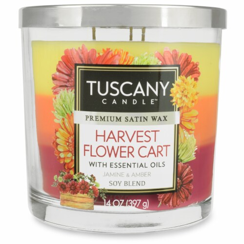 Tuscany Candle Limited Edition Harvest Flower Cart Scented Triple Pour Jar Candle Perspective: front
