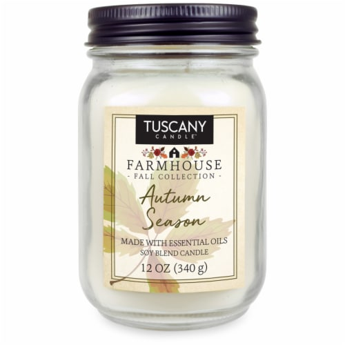 Tuscany Candle Farmhouse Fall Collection Autumn Season Jar Candle - White Perspective: front