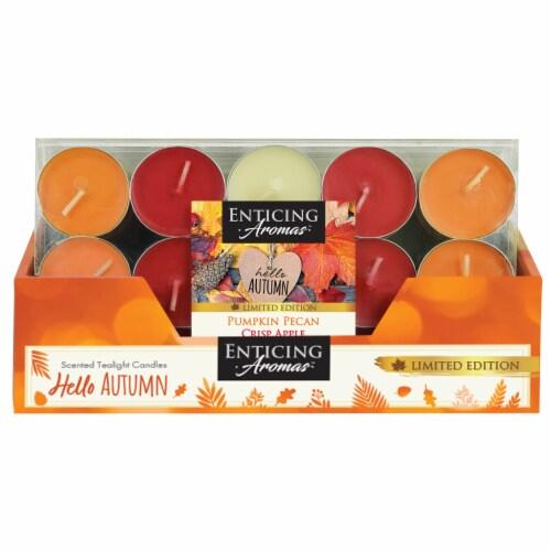 Enticing Aromas Pumpkin Pecan & Crisp Apple Scented Tealight Candles - Orange/Red Perspective: front