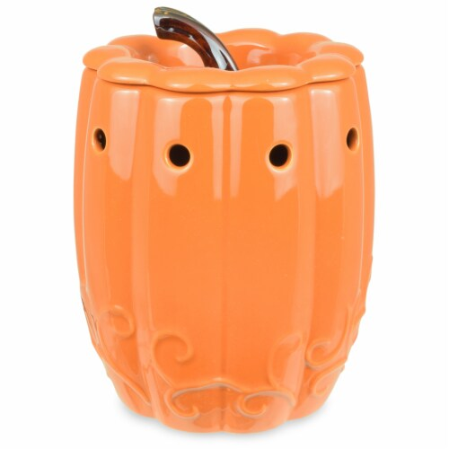 Tuscany Pumpkin with Stem Large Ceramic Warmer Perspective: front