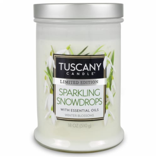Tuscany Limited Edition Snowdrops Scented Jar Candle Perspective: front