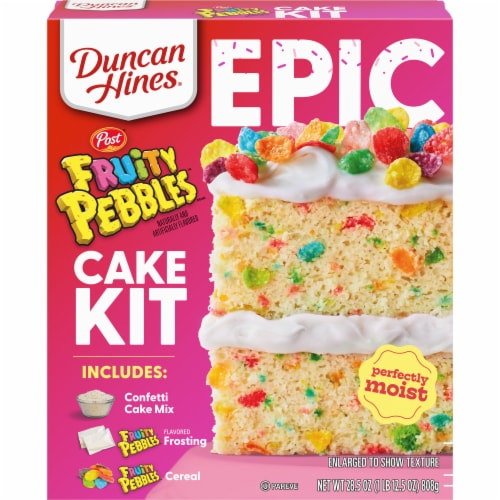 Duncan Hines Epic Fruity Pebbles Cake Mix Kit Perspective: front