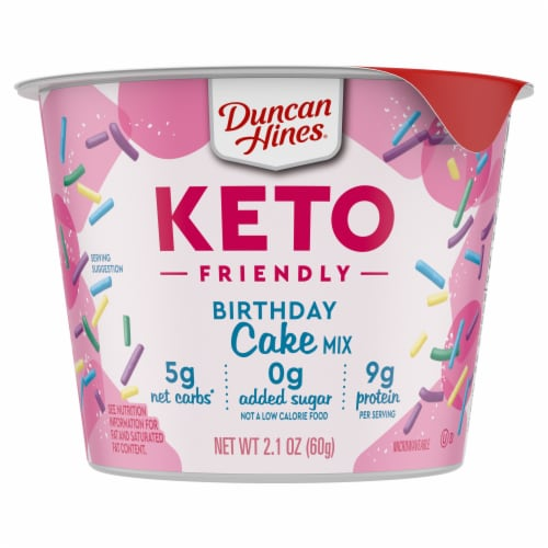 Duncan Hines Keto Friendly Birthday Cake Cup Mix Perspective: front