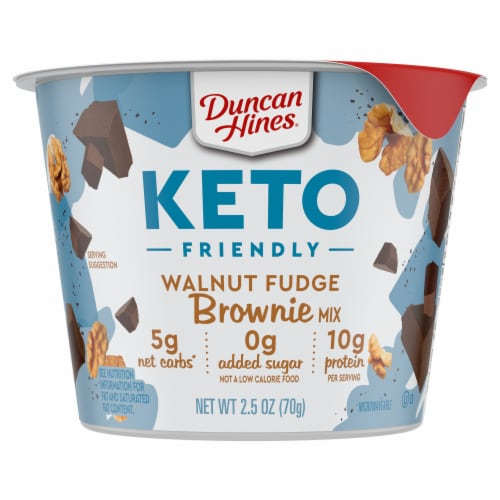 Duncan Hines Keto Friendly Walnut Fudge Brownie Cup Mix Perspective: front