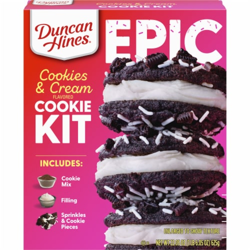 Duncan Hines Epic Cookies & Cream Flavored Cookie Mix Kit Perspective: front