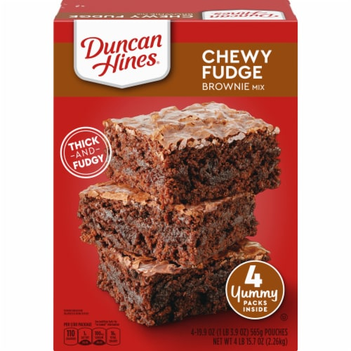 Duncan Hines Chewy Fudge Brownie Mix 4 Count Perspective: front