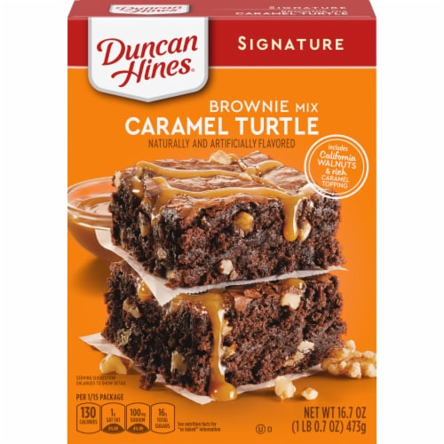Duncan Hines® Caramel Turtle Brownie Mix Perspective: front