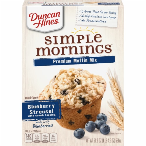 Duncan Hines Simple Mornings Blueberry Streusel Premium Muffin Mix Perspective: front