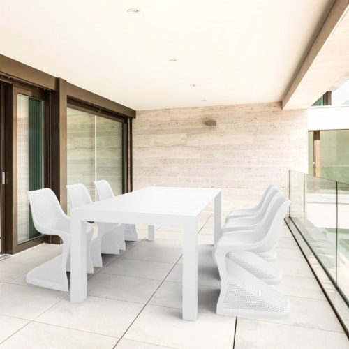 Compamia Bloom 7 Piece Extendable Patio Dining Set in White Perspective: front