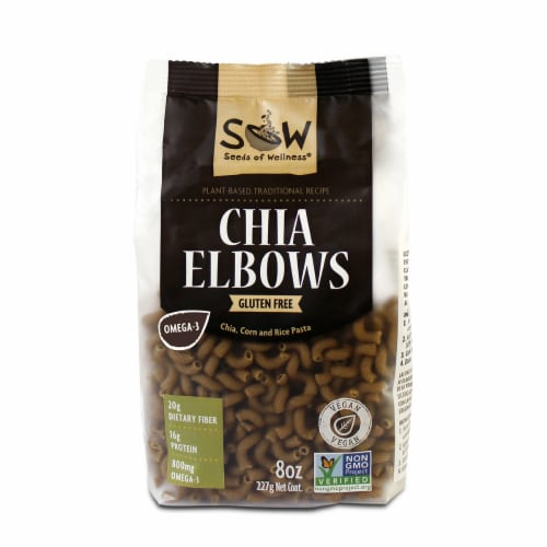 Seeds of Wellness Gluten Free Chia Elbows Pasta Perspective: front