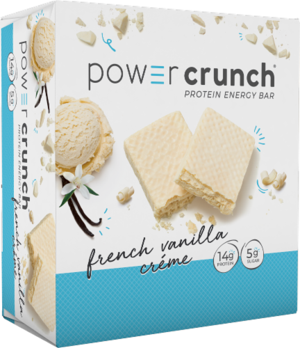 Power Crunch French Vanilla Creme Protein Energy Bar Perspective: front