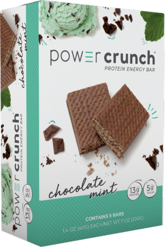 Power Crunch Chocolate Mint Protein Energy Bars Perspective: front