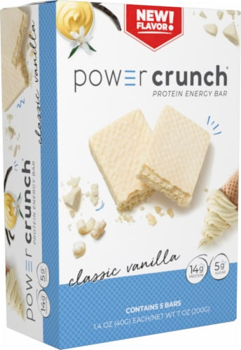Power Crunch Classic Vanilla Protein Energy Bars Perspective: front