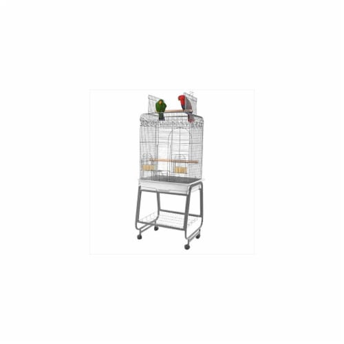 A&E Cage 702 White Play Top Cage With Removable Stand Perspective: front