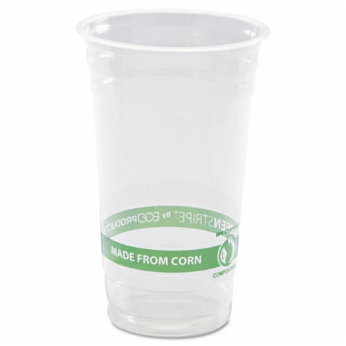 Eco-Products 24 oz. GreenStripe Compostable Cold Cups / 1,000-ct. case Perspective: front