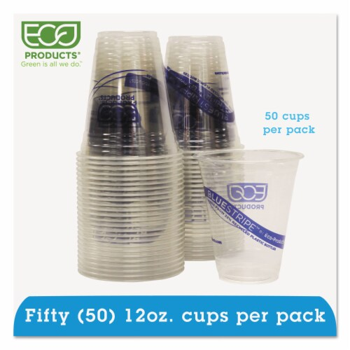 Eco EPCR12PK Recycled Content Clear Plastic Cold Drink Cups  14 oz.  Clear  50/Pack Perspective: front
