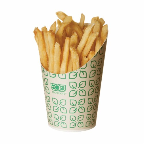 Eco-Products Large Compostable French Fry Scoop / 1,000-ct. Case Perspective: front