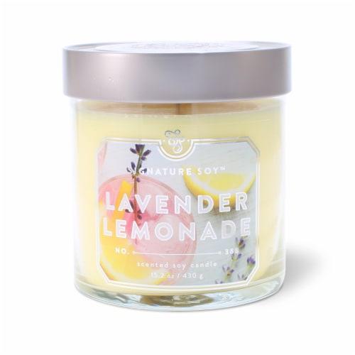 Signature Soy Lavender Lemonade Glass Jar Candle Perspective: front