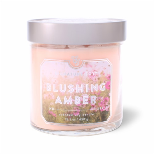 Signature Soy Blushing Amber Glass Jar Candle Perspective: front